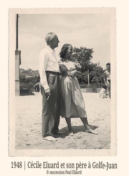 Cécile Eluard et Paul Eluard-1948-Golfe-Juan